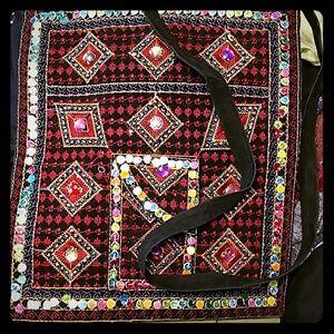 Vintage Suede Rainbow Sequin Boho Bag